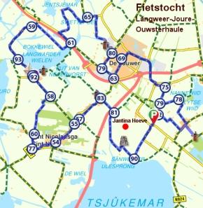 fietstocht door merengebied bij Joure in Friesland
